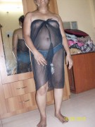 Aunty in Black Gown Showing her Hairy Pussy Pics